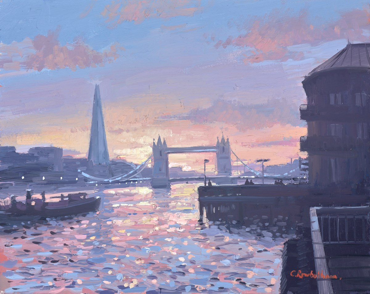 Sunset Toward Tower Bridge by charles rowbotham -  sized 12x9 inches. Available from Whitewall Galleries